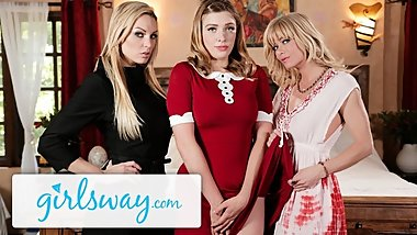 Girlsway Teen Witch Casts Love Spell on Busty Step-Aunts