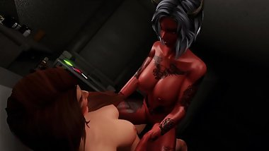 Tattooed succubus is having fun with fingers and girlfriend in skyrim