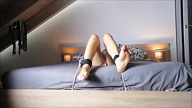 sexy feet tied to bed get whipped during masturbation HD