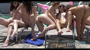 Outdoor Pool Orgy with Girlfriends