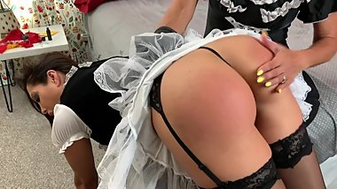 Maid Francesca gets over the knee bare bottom spanking till her tushy red