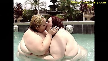 Fat Lesbians Kissing and Making Out Naked In The Outdoor Pool