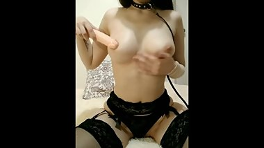 Spit on my boobs, masturbate with dildo anal pussy. In leash skirt stocking