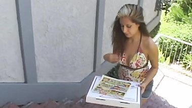 sexy latina pizza girl assfucked for stealing from customer