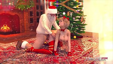 Winter Holidays futanari animation with Santa