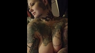 Chubby tattooed big tits almost got caught smoking naked.
