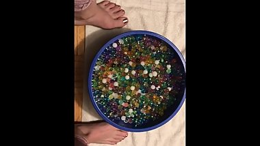 Dipping my foot in orbeez