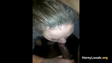 Slut sucks big black cock after party