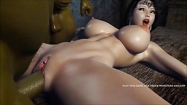 "AMAZING 3D OUTDOOR FUCK FEATURING GREEN ORC AND AMAZING ASIAN â""–2"