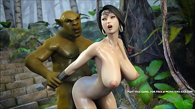 "AMAZING 3D OUTDOOR FUCK FEATURING GREEN ORC AND AMAZING ASIAN TITTY â""–1"
