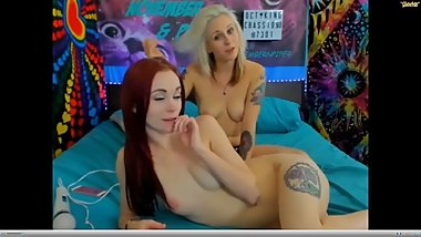 Lesbian Couple Strap On Sex on Webcam