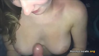 19yr old busty jerking a load out her young face