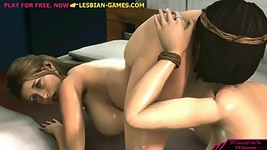 Lesbian licking and fucking 3d cartoon
