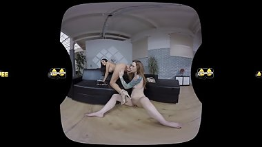 Lesbian virtual reality pissing with European babes Foxie and Rachel Evans