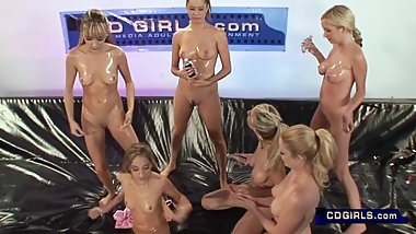 9 girl lesbian oil orgy introductions and lube up for the big event