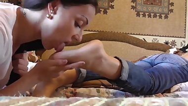 Two super sexy Russian babes lick each other's feet and soles in bed