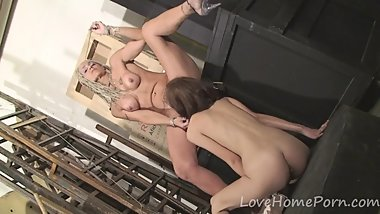 Hot blonde milf enjoys her lesbian lover's skills
