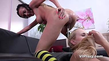 Vipissy - Nicol Love and Angel Wicky get piss soaked in lesbian pee play