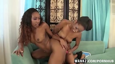 WANKZ- Sexy Black Girls Lotus and Chanell Heart Lez Out
