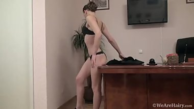 Office worker Alisa Pie strips down from leather