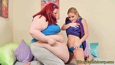 Skinny Cheerleader With SSBBW Big Belly Babe - She Loves My FAT Body