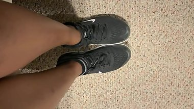 Ebony teen girl takes off shoes after class ASMR
