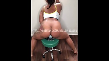 THICK MIXED SLUT RIDES DICK CHAIR AND CUMS ALL OVER