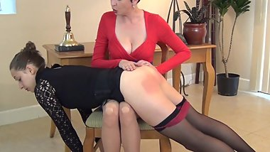 Assistant gets spanked by her boss