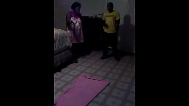 Lashunda gives don a hard belt spanking while he is laying on the floor