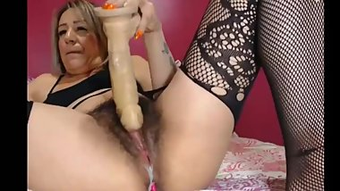 BBW POUNDING HAIRY PUSSY WITH MASSIVE DILDO