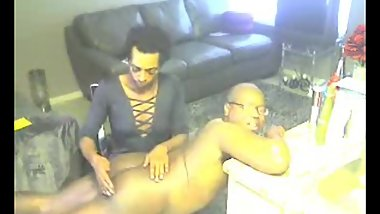 Deshun gives larry a spanking over the knee
