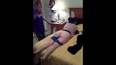 Estelle gets spanked on the bed for not doing chores