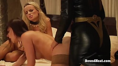 Lesbian Slaves Moaning And Orgasming During Strapon Fuck With Mistress