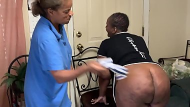 Angie gives girl a hard spanking for late night partying